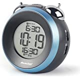 Reacher Twin Bell Alarm Clock with Digital LCD Display Alarm, Snooze, 12/24Hour, Loud Alarm, Battery Operated, Black)