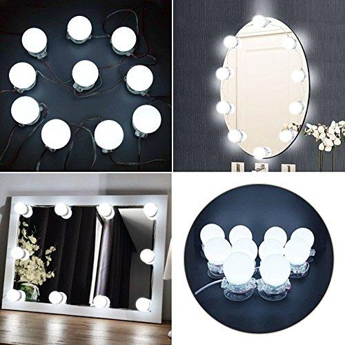 Hollywood Stil dimmbare LED Glühbirnen,BEQOOL LED Ball Licht für Spiegel für Make-up,Badezimmer Leuchten,Heller Schminkspiegel (10 LED) (Spiegel-ball-licht)