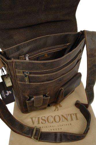 Borsa organiser in pelle Messenger Notebook/ipad Visconti 18410 Olio Marrone