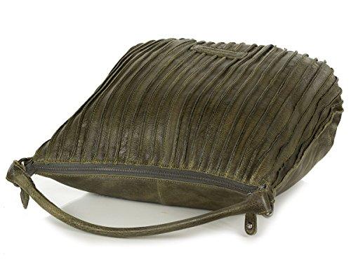 Borsa A Tracolla Di Scoiattolo Fredsbruder In Pelle Morbida (35 X 32 X 13 Cm) Verde (verde Militare)