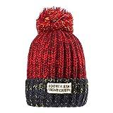 Cappelli invernali per le donne - YOPINDO Womens Bobble Hat Cappelli di lana a maglia Sci Snowboard da sci esterno Cappelli caldi cappelli con pompa grande Pom Pom (Rosso)