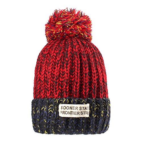 Sombreros de punto para las mujeres - YOPINDO Girls Beanie Hat lana de invierno de invierno de esquí al aire libre Snowboard Bobble hemming sombreros Gorra con lindo Big Ball Pom Pom (Rojo)