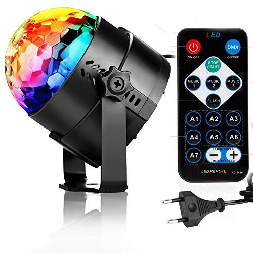 NewPI Palla da Discoteca Festa Luce da Discoteca Luce led Effetti di Illuminazione da Discoteca 7 colori RGB DJ luce 3W