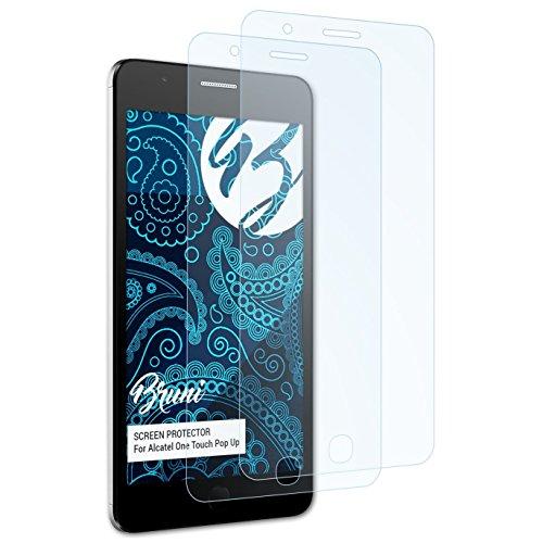 Bruni Schutzfolie für Alcatel One Touch Pop Up Folie, glasklare Bildschirmschutzfolie (2X)