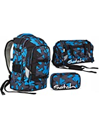 421d6d3e0810d Satch Pack by Ergobag - 3 tlg. Set Schulrucksack - Blue Triangle