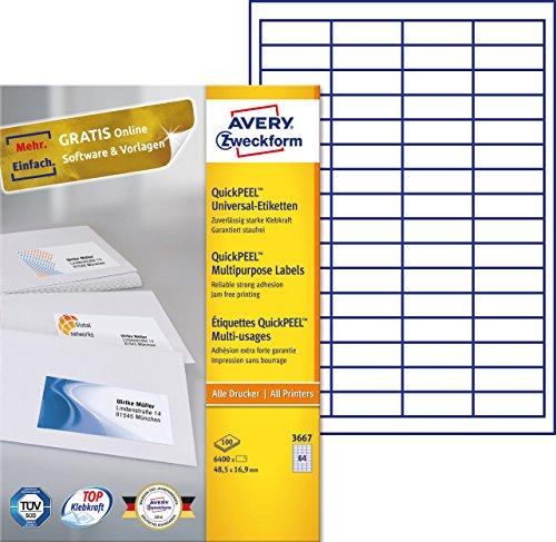 AVERY Zweckform 3667 Universal-Etiketten (A4, Papier matt, 6,400 Etiketten, 48,5 x 16,9 mm, 100 Blatt) weiß