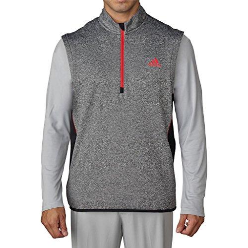 Adidas Golf 2016 Climaheat™ Half Zip Soft Fleece Insulation Gilet Mens Performance Golf Vest Black Heather Small (Golf Half Zip Sweater)