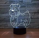 Geschenk der Mutter Tagesgroßmutter Netter Hund 3D LED Lampen-Nachtlicht Mehrfarben-RGBW Birne dekorative Luminaria Schnelles Tropfenverschiffen