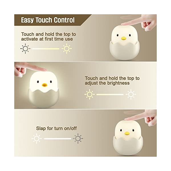 Tecboss LED Rechargeable Night Light for Kids with Touch Sensor, White 3
