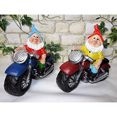 Koi 2er Set Gartenzwerge Zwerg auf Motorrad ca. 15x15cm Garten Deko Coole Biker Geschenkidee