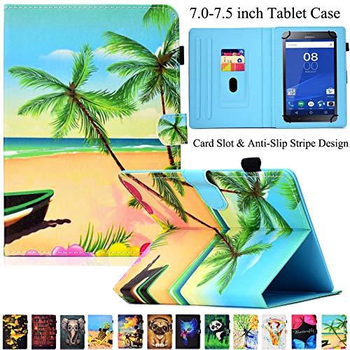 Universal Tablet-Schutzhülle, Artyond PU Leder Multi-Winkel Ständer Hülle mit Kartenschlitzen für Android, Windows, Kindle, Galaxy Tab und andere 17,8-7,5 Zoll Tablet, Coconut Palm - Für Ständer 7-zoll-kindle