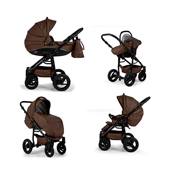 Lux4Kids Pram Stroller 3in1 2in1 Isofix Colour Selection Buggy Car seat Nem Kunstleder Grey Eco-04 4in1 car seat +Isofix Lux4Kids Lux4Kids Nem 3in1 or 2in1 pushchair. You have the choice whether you need a car seat (baby seat certified according to ECE R 44/04 or not). Of course the car is robust, safe and durable Certificate EN 1888:2004, you can also choose our Nem with Isofix. The baby bath has not only ventilation windows for the summer but also a weather footmuff and a lockable rocker function. The push handle adapts to your size and not vice versa, the entire frame is made of a special aluminium alloy with a patented folding mechanism. 3