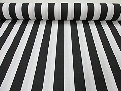 Black White Striped Fabric - Stripes Curtain Upholstery Material 140cm wide (sold by the metre)