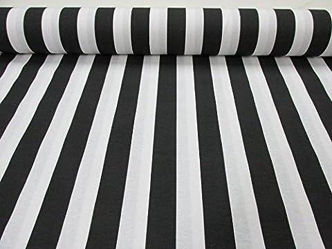 Weiß gestreiftem Stoff–Streifen Vorhang Polster Material 280cm breit (Meterware)–4Farben/rot, schwarz, gelb, blau/ schwarz / weiß