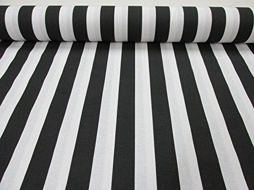Weiß gestreifter Stoff-Gestreiftes Vorhang- und Polstermaterial, 140 cm breit (Meterware), 4 Farben: rot, schwarz, gelb, blau schwarz / weiß - Stoff Und Weiß Blau Gestreiften