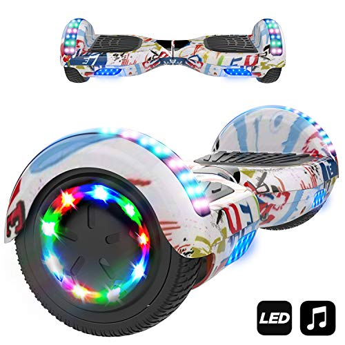 "Hoverboard 6.5"" con Luces LED, Flash Ruedas, Cinco Estrellas, Motor 700W con Bluetooth, Patinete Eléctrico Auto Equilibrio"