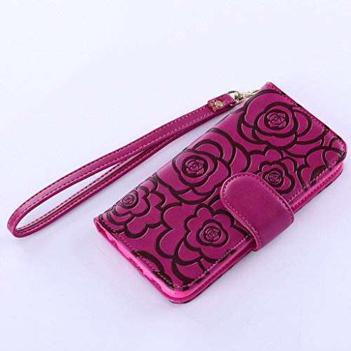 iPhone 5 C Case, jgntjls embossing-camellia, Filp PU Pelle Card Slot Portafoglio per Apple 4.0  Purple Red,#8