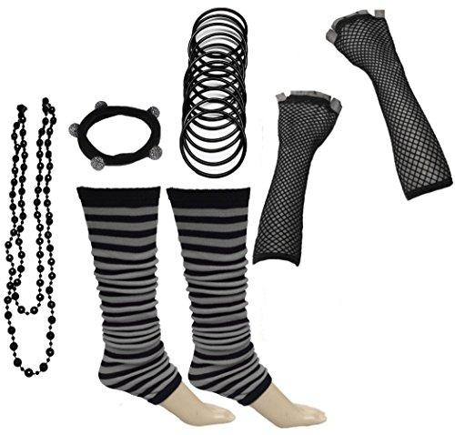 Kostüm 80er Formale - A-Express 80er Damen Neon Streifen Beinstulpen Handschuhe Halskette Shamballa Tüll Fluo Ballett Verkleidung Party Tutu Kostüm Set