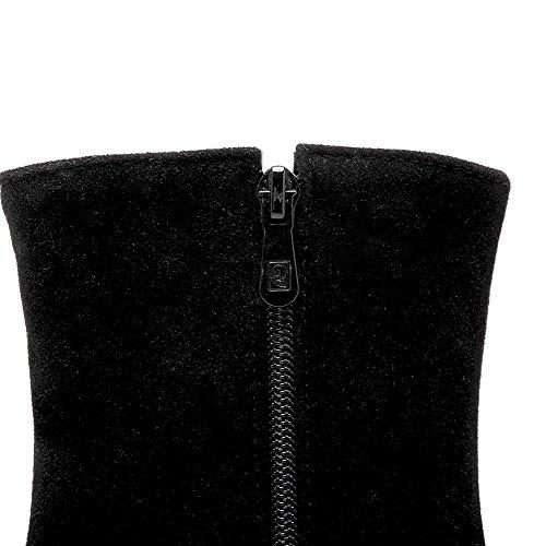 AgooLar Femme Suédé Haut Bas Couleur Unie Zip Bottes Noir