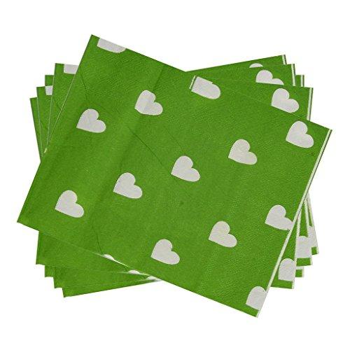 kraftz®-2x 20Stück Papier-Servietten mit Love Herz Design für Geburtstag Party Deko Geschirr Events Festivals Hochzeiten Serviette grün