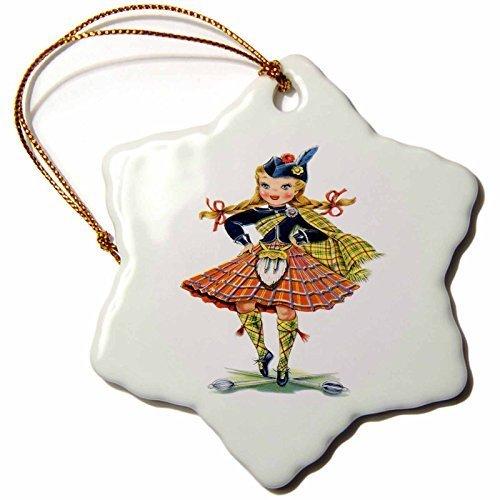 Funny Weihnachten Schneeflocke ornaments Print of Retro schottischen Puppe Urlaub Xmas Tree hängende Dekoration Ornaments Geschenke -