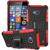 Lumia 640 Funda, Pasonomi® [2 en 1] Heavy Duty silicona híbrida con soporte Cáscara de Cubierta Protectora Funda Caso para Microsoft Lumia 640 (Rojo)