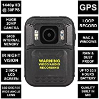 THE D5 MINI BODY CAMERA WITH H.264 & H.265 CODING - FULL HD 1440p @30fps & 30MP Camera with a 160 Degree Wide Angle Lens + IR Night Vision, GPS // Built in 64GB Memory Card + Chest & Shoulder Harness