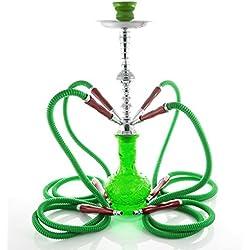 """Cachimba marca """"Noche Arabe"""" de color verde y una altura de 54 cm."""