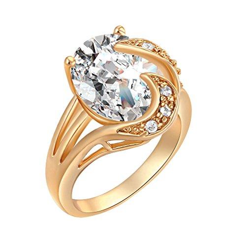 YAZILIND 18K Elegante Gorgeour Solitaire Crystal Weiß Ring Partei Frauen Gold überzogenes Present - Ring Gold-weiss Hochzeit