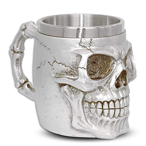"""Jarra """"Silver Teeth"""" - calavera cráneo (0,35 l) - Altura 11 cm - Decorazione Horror Medieval Fantástico"""