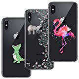 [3 Pack] iPhone X Case, iPhone 10 Case, Ultra Thin Soft Gel TPU Silicone Case Cover with Cute Cartoon for iPhone X / 10 - Crocodile & Elephant Flowers & Flamingo