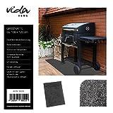 Vida GmbH Grillmatte BBQ Matte Grillunterlage Bodenschutzmatte für Grill 120x100 cm uni anthrazit