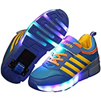 Fansport Children LED Shoes Roller Shoes Flashing Shoes with Single Wheel Soles (Blue 35)