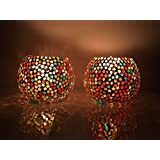 Handmade Mosaic Glass Candlestick Tea Light Candle Holder Set Of 2 For Wedding, Decorative Centerpieces For Diwali, Birthday Gifts, House Warming, Multicolor By Urban Star (Star)