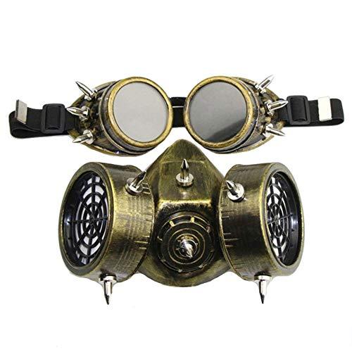 LUCKME Retro Mens Womens Steampunk Gas Maske Gase Brillen Set Gothic Plage Cyberpunk Kostümspielzeug,Gold