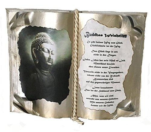 Dekobuch kreativ gestaltet mit Plexi-Halter Geschenk für alle Anlässe Geburtstag Taufe Freundschaft Liebe Hochzeit Motivbuch mit Spruch Modell: Buddhas Weisheiten