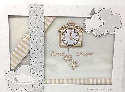 Interbaby-Sabanas invierno Pirineo CUNA - ( bajera+encimera+funda almohada) Modelo Reloj color beig