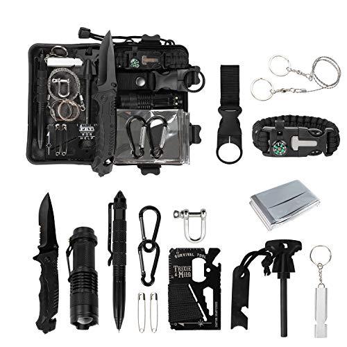 Homealexa Survival Kit 15 in 1, Außen Notfall Survival Kit, Rettungshilfe Selbsthilfe Survival Kit Set für Camping, Bushcraft, Wandern, Jagd und Ihr Outdoor Abenteuer