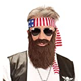 NET TOYS Rocker Kostüm Set Amerika Stirnband und Bart USA Biker Outfit Easy Rider Vollbart Falscher Kunst Bart Stars and Stripes Kleidung Herren