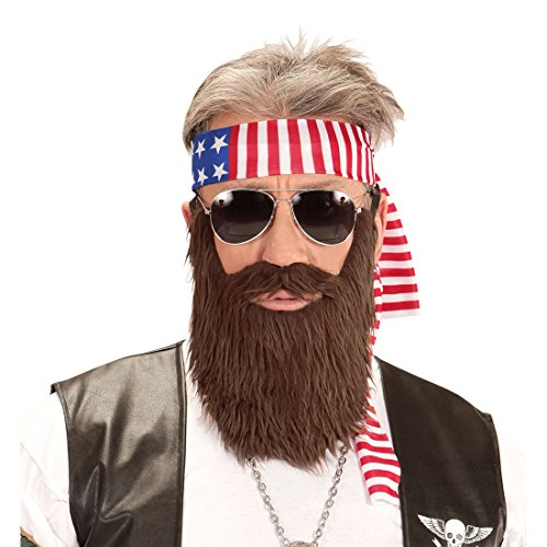 NET TOYS Rocker Kostüm Set Amerika Stirnband und Bart USA Biker Outfit Easy Rider Vollbart Falscher Kunst Bart Stars and Stripes Kleidung ()
