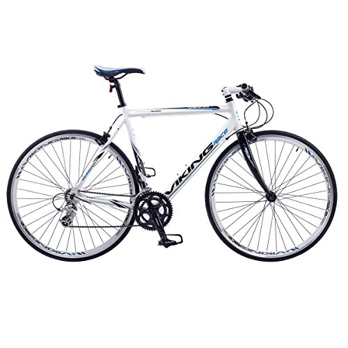 51svb8vdvuL. SS500  - Viking PALERMO MENS FLAT BAR ROAD RACING BIKE 700C WHEEL ALLOY 53CM FRAME WHITE VG547