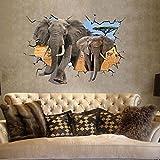 YESURPRISE Pegatina Pared Vinilo Adhesivo Decorativo 3D Elefante Antílope África Paisaje Salvaje