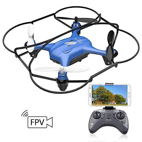 ATOYX AT-96 WiFi FPV Drone,Cámara HD Ajustable Función de Suspensión de Altitud Modo sin Cabeza ,Un Botón de Aterrizaje y Despegue Flips 3D RC Dron Quadcopter para Niños y Principiantes - Azul