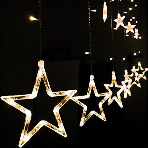 DulceCasa 2.3m x 0.6 - 1m Guirnaldas Estrella 168 Bombillas Lámpara LED decorativo Fiesta Navidad Decoración Árbol Cortina Luminosas luz - Blanco