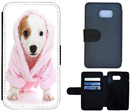 Flip Cover Schutz Hülle Handy Tasche Etui Case für (Apple iPhone 4 / 4s, 1163 Abstract Hell Blau Grau) 1157 Hund Welpe Süß Rosa Weiß Braun