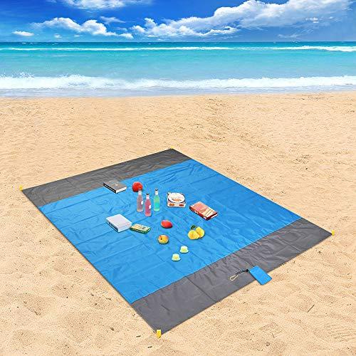 Picknickdecke, laxikoo Stranddecke 210 x 200 cm Wasserdichte Sandabweisende 4 Befestigung Ecken Ultraleicht kompakt Campingdecke Ideal für Reisen, Camping und Picknick
