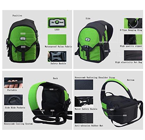 SLR Kamera Sling Pack Outdoor Freizeit Nylon wasserdichte leichte Messenger Bag Digitalkamera Schulter Kleine Rucksack für Reise Camping Klettern Wandern mit Regen Cover 5 Farbe H32 x L23 x T16 CM Green