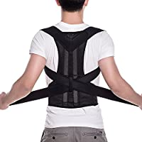 FITTOO Adjustable Neoprene Posture Corrector Back Shoulder Lumbar Waist Support Belt for Men and Women - Comfortable and Discreet, Pain Relief, Improve Posture …