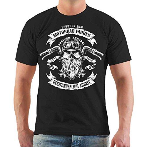 Männer und Herren T-Shirt Motorrad fahren & gezwungen zur Arbeit Größe S - 8XL Körperbetont schwarz