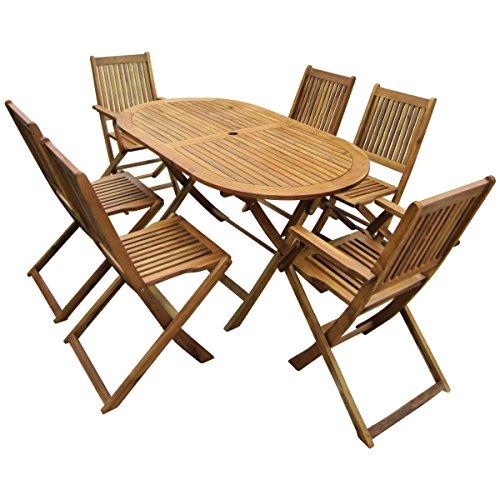 Bentley Garden - Gartenmöbel-Set aus Holz - Ausziehbarer ovaler Tisch & 6 Stühle
